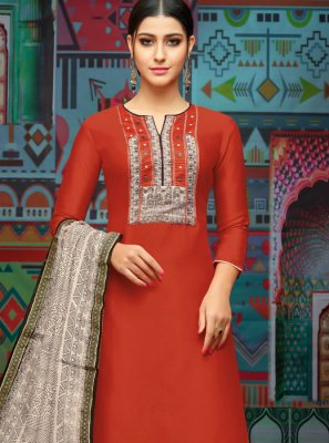 Red Embroidered Festival Designer Palazzo Suit