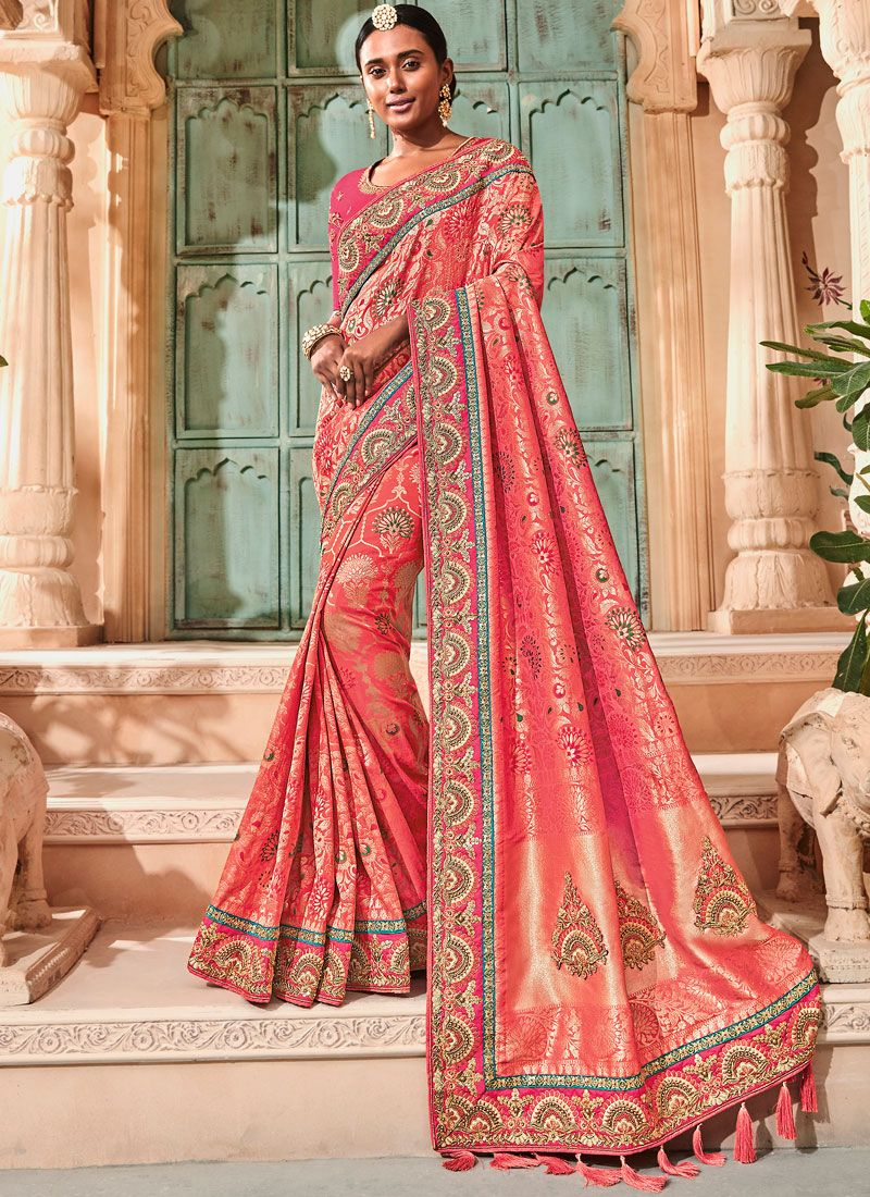 Red Embroidered Sangeet Classic Saree