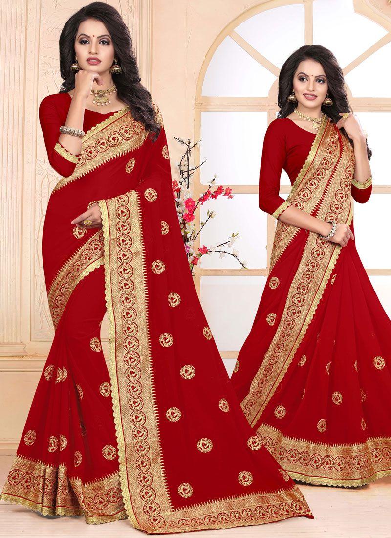 Red Embroidered Sangeet Designer Saree