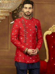 Red Embroidered Sangeet Indo Western