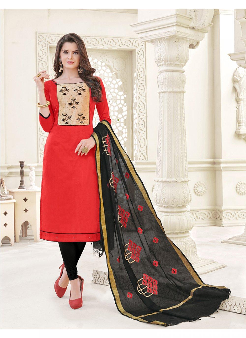 Red Embroidered Work Churidar Designer Suit