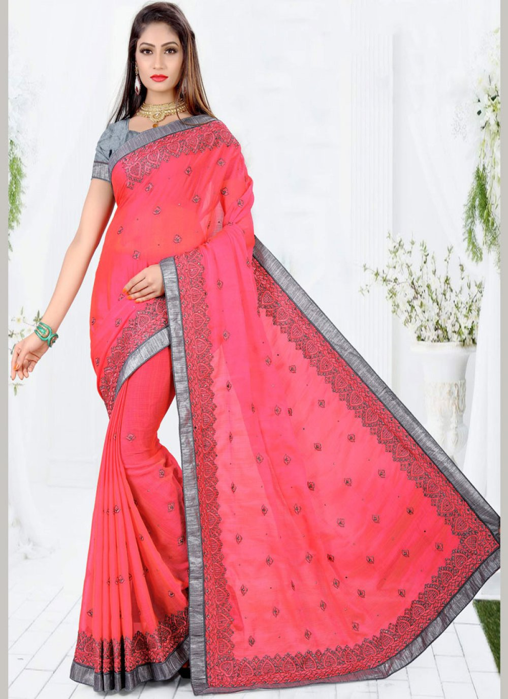 Red Embroidered Work Classic Designer Saree