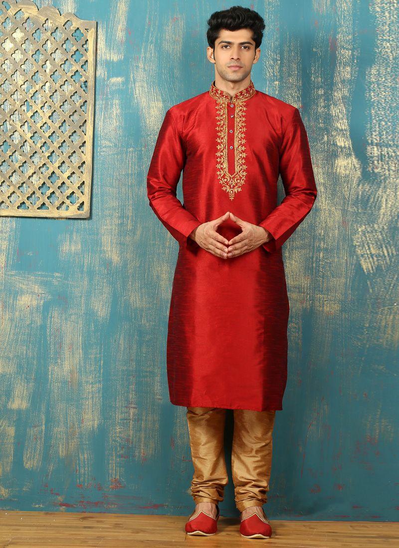 Red Embroidered Work Dupion Silk Kurta Pyjama