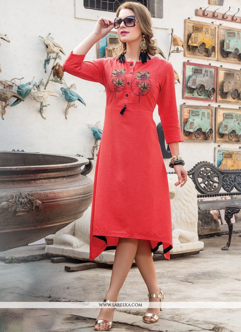 Red Embroidered Work Fancy Fabric Party Wear Kurti