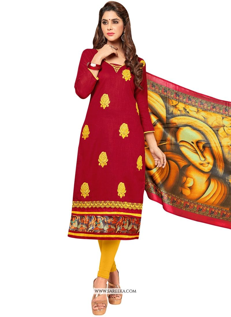 Red Embroidered Work Salwar Suit