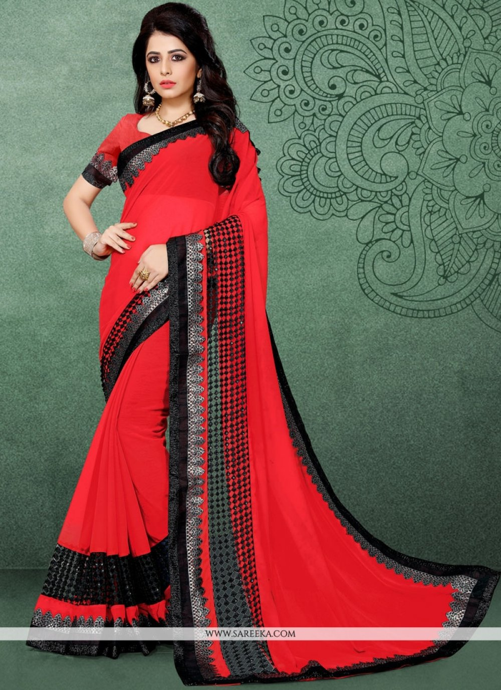 Red Fancy Fabric Classic Designer Saree