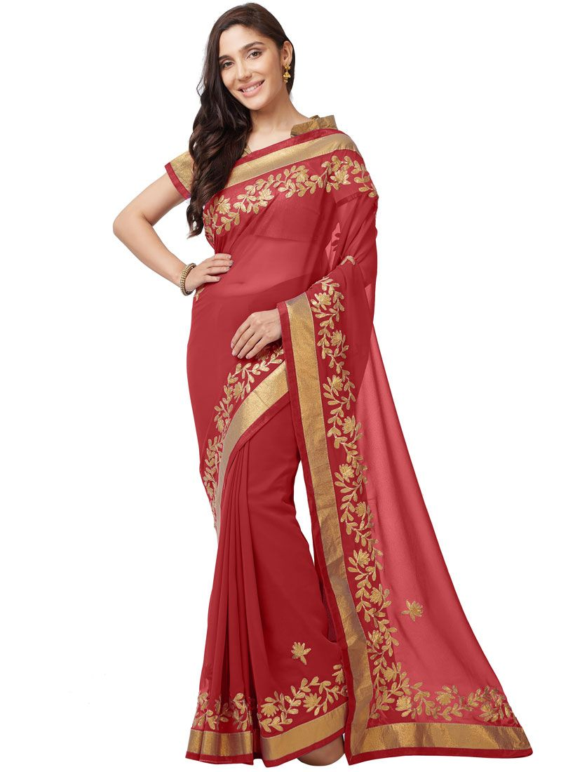 Red Faux Georgette Embroidered Classic Designer Saree