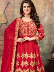 Red Faux Georgette Floor Length Anarkali Suit
