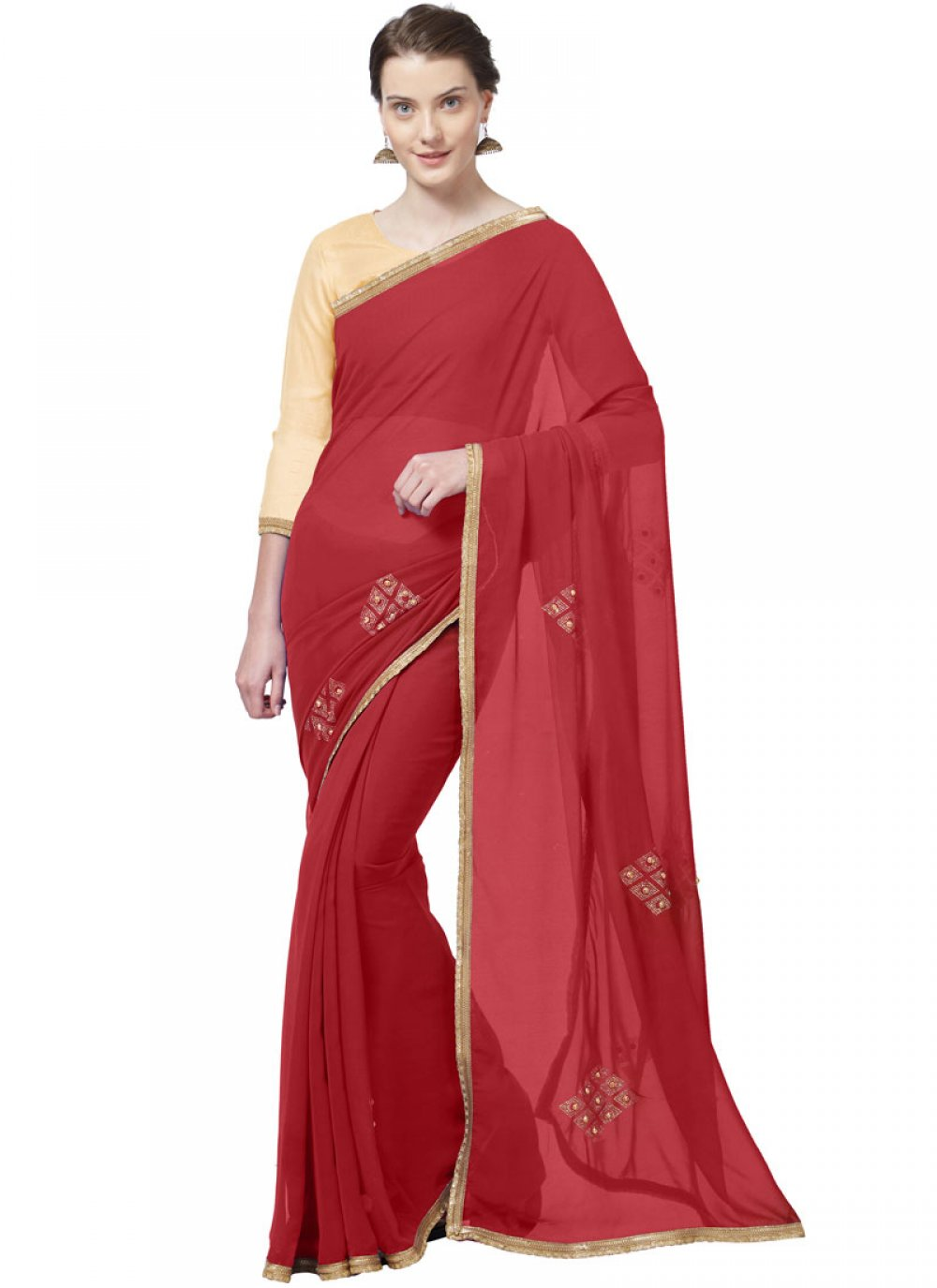 Red Festival Casual Saree