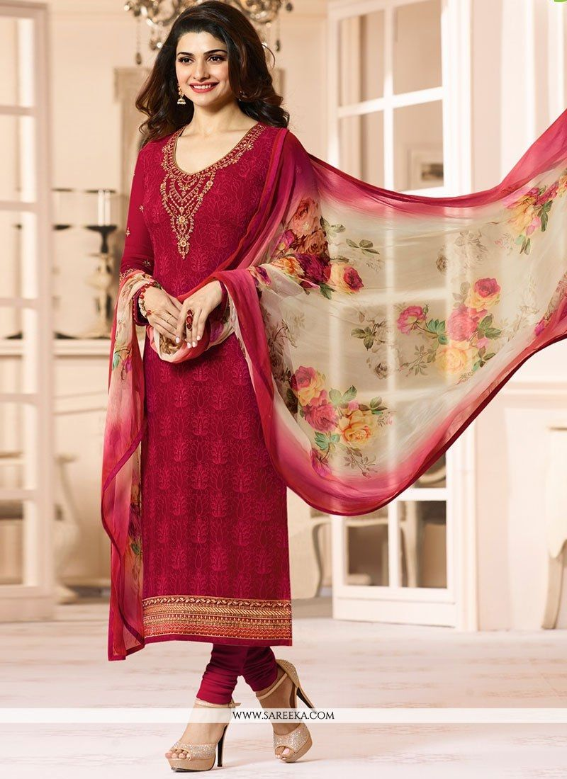 Red Georgette Salwar Suit