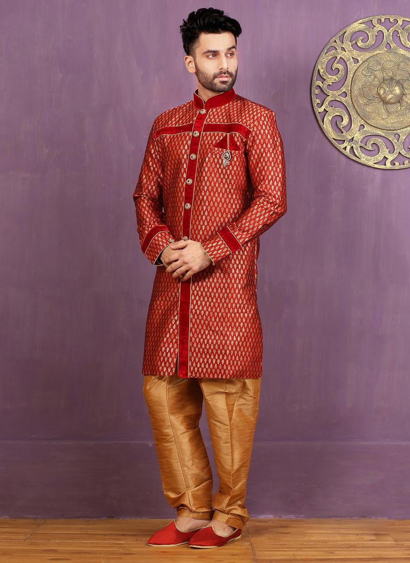 Red Jacquard Silk Indo Western Sherwani with Embroidered