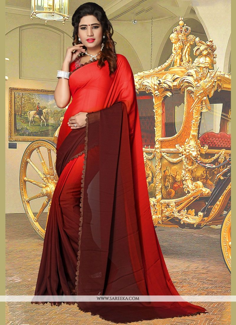Red Lace Work Faux Georgette Shaded Saree