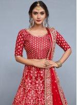 Red Lace Work Lehenga Choli