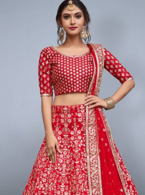 Red Lace Work Lehenga Choli