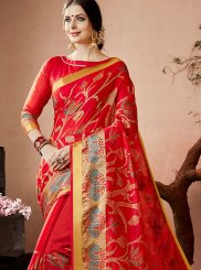 Red Lace Work Traditional  Saree