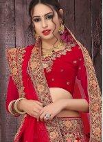 Red Mehndi Velvet Designer Lehenga Choli