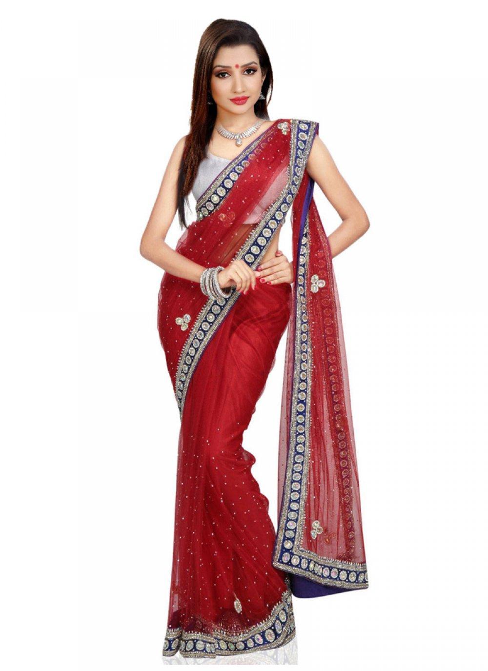 Red Moti Work Net Classic Saree