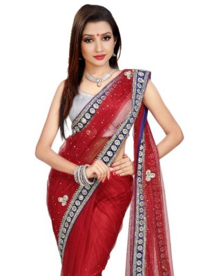 Red Moti Work Net Classic Saree