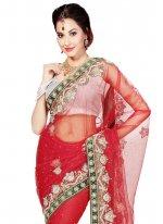 Red Moti Work Net Trendy Saree