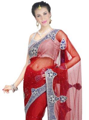 Red Net Classic Designer Saree