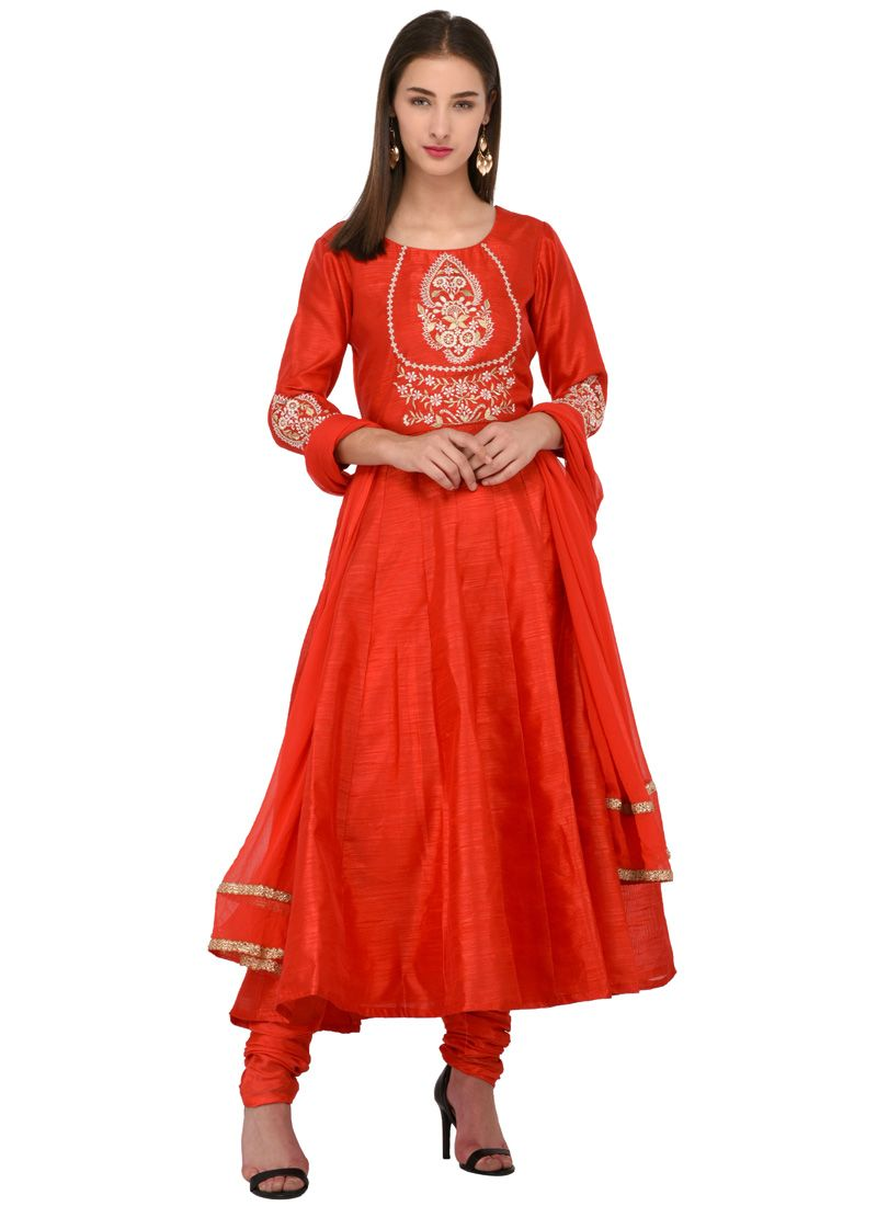 Red Party Anarkali Salwar Suit