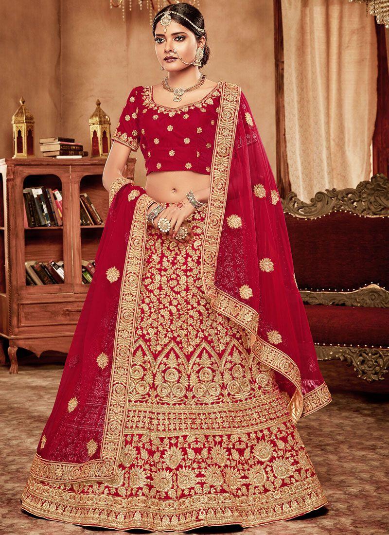 415bac2d540e15 Buy Red Patch Border Velvet Lehenga Choli Online : 96165 -