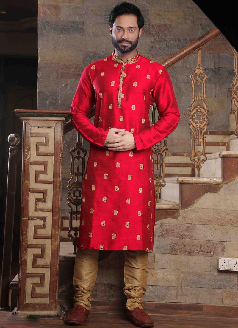 Red Poly Silk Kurta Pyjama