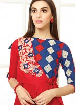 Red Print Party Wear Kurti