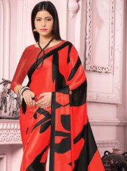 Red Print Satin Silk Casual Saree