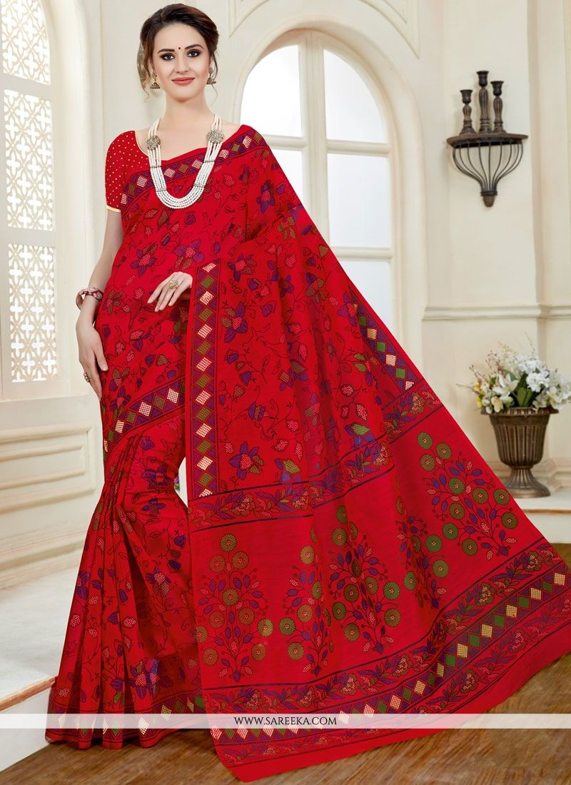 Red Print Work Cotton   Casual Saree