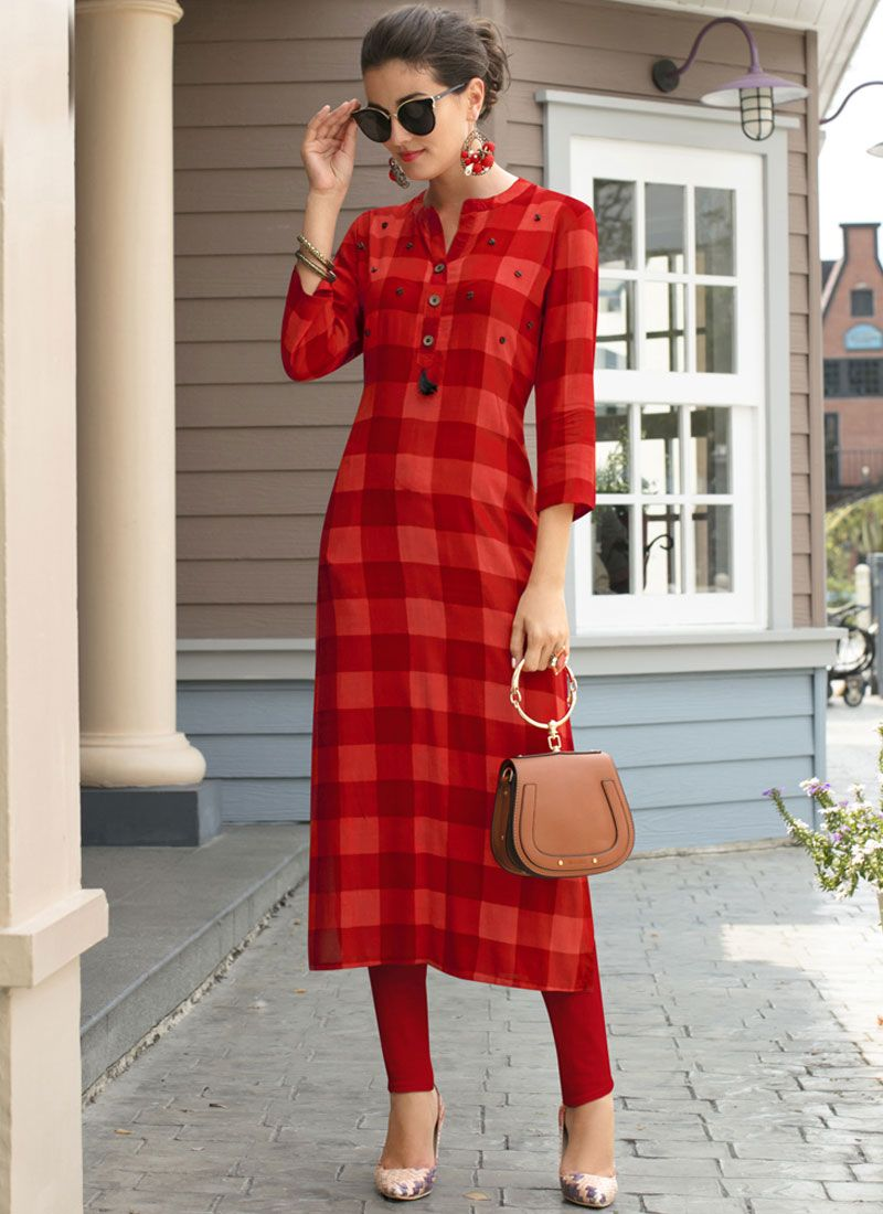 Red Printed Work Casual Kurti