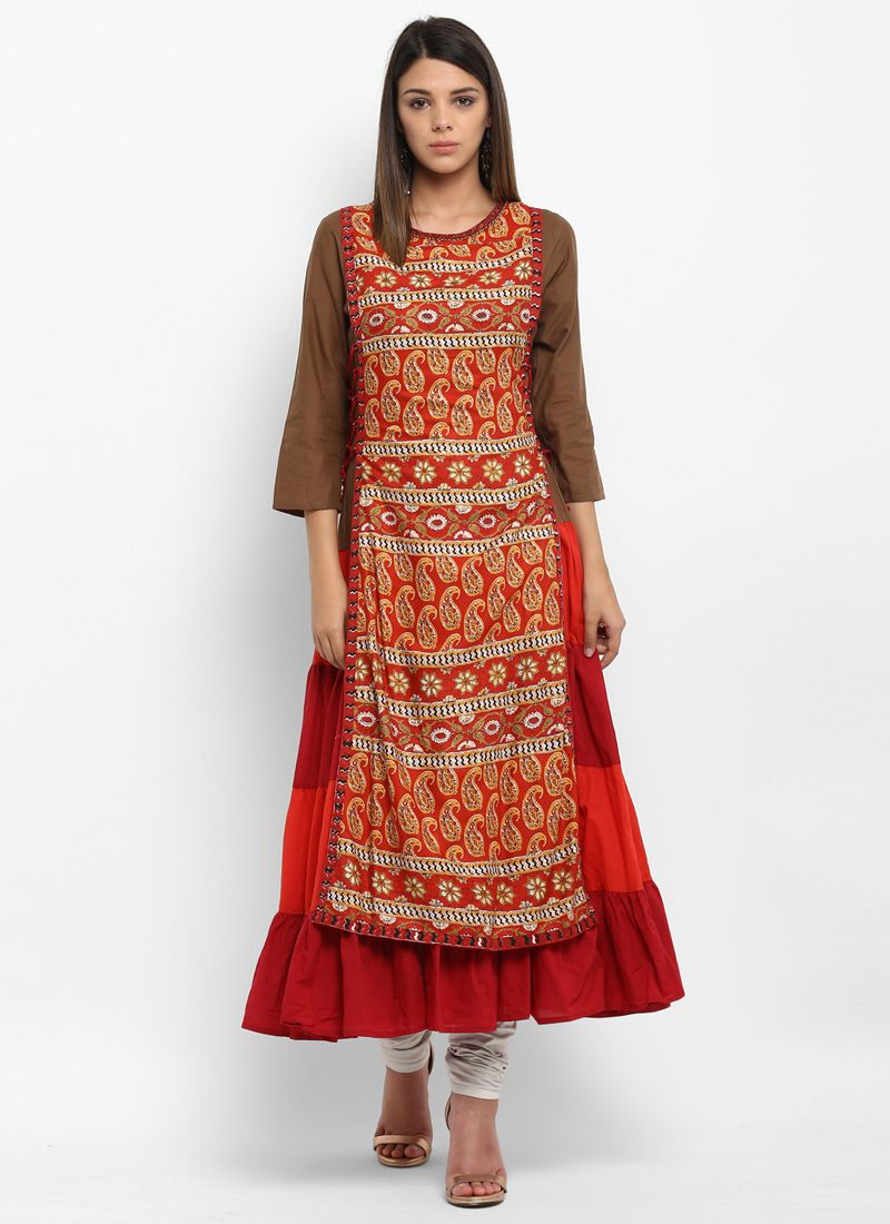 Red Printed Work Cotton   Party Wear Kurti