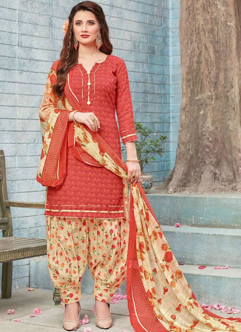 Red Printed Work Poly Cotton Punjabi Suit