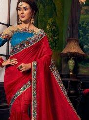 Red Resham Art Silk Designer Traditional Saree