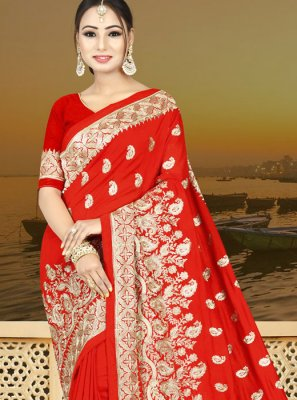 Red Resham Traditional  Saree