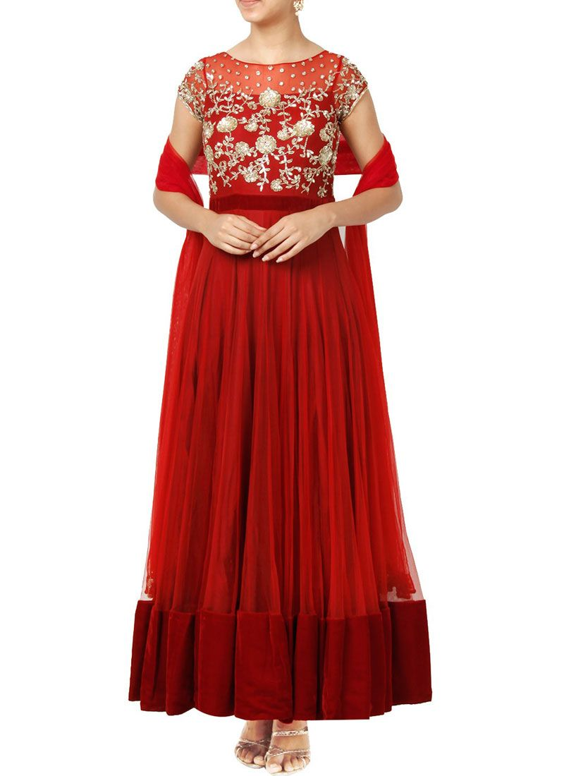 Red Resham Work Floor Length Anarkali Suit