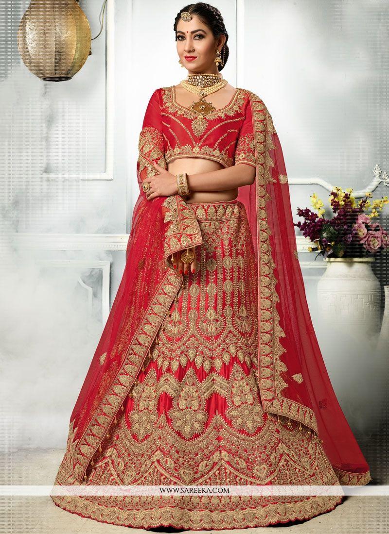 Red Resham Work Satin Silk Lehenga Choli