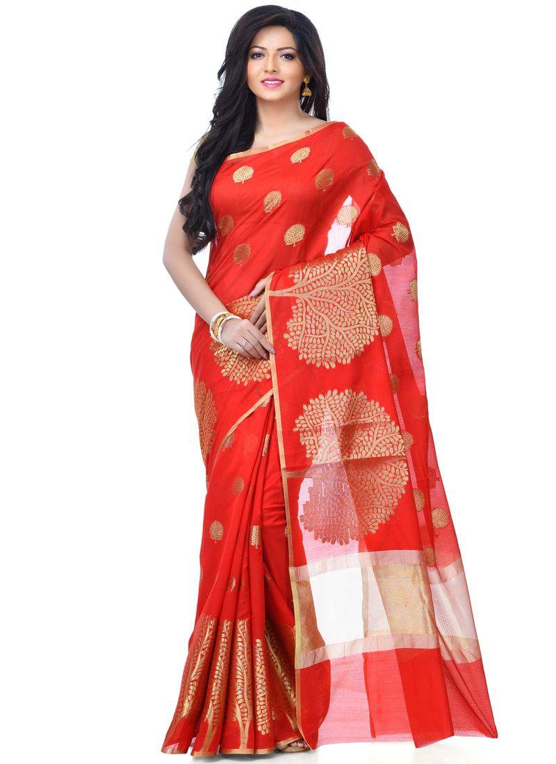Red Sangeet Banarasi Silk Classic Designer Saree