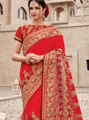 Red Satin Silk Designer Saree