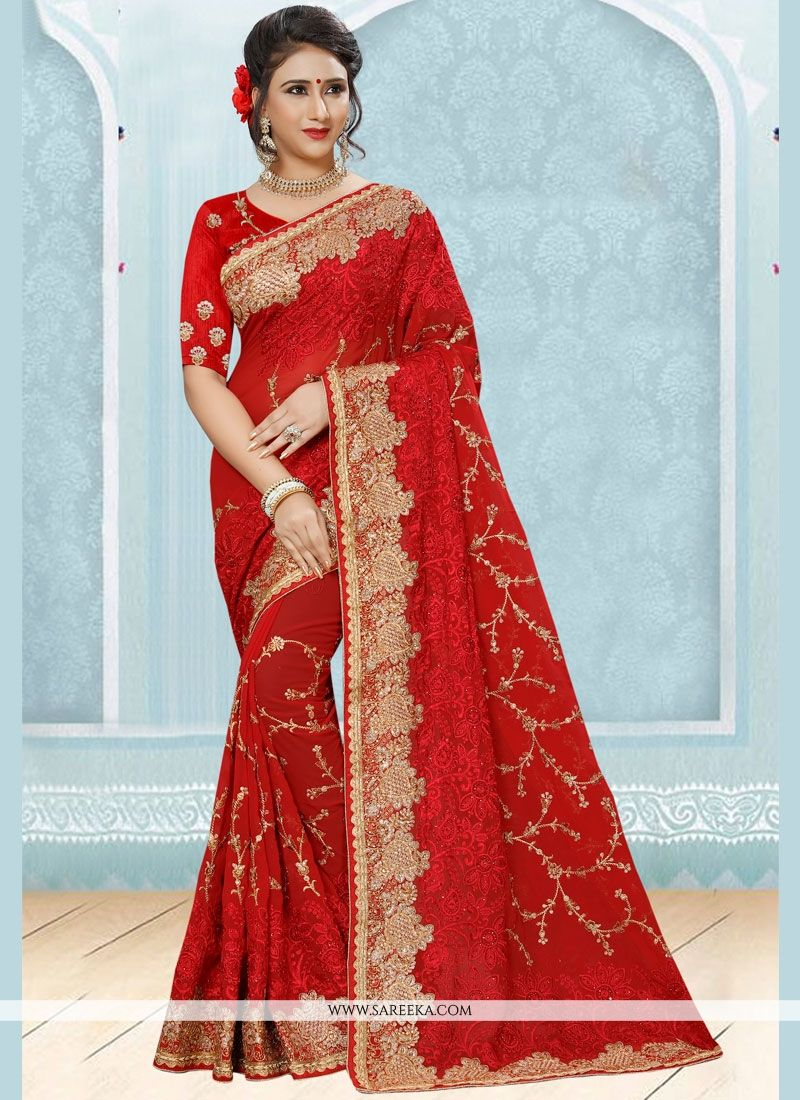 7d542d176b Buy Red Stone Work Faux Georgette Designer Saree Online : 76132 -