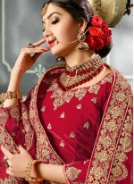 Red Stone Work Velvet A Line Lehenga Choli
