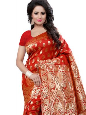 Red Traditional Designer Saree