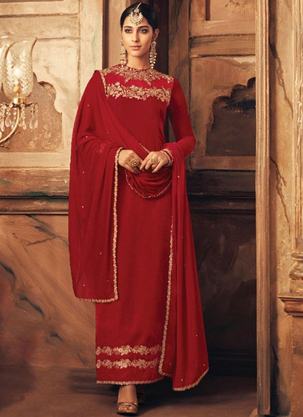 Red Velvet Lace Designer Suit