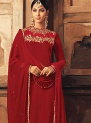 Red Velvet Lace Designer Suit