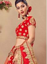 Red Velvet Mehndi Designer Lehenga Choli