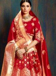 Red Weaving Bridal Lehenga Choli