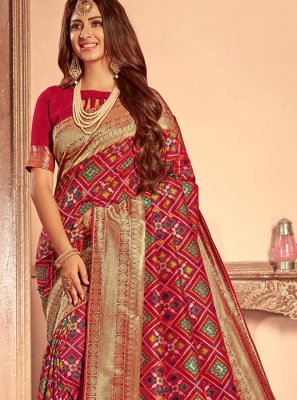 Red Weaving Patola Silk  Designer Traditional Saree
