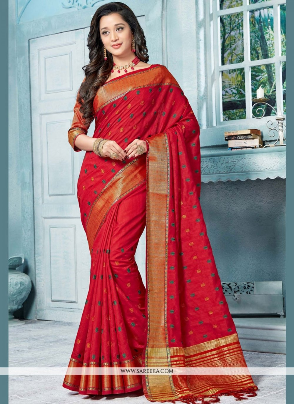 Red Weaving Work Art Silk Designer Traditional Saree