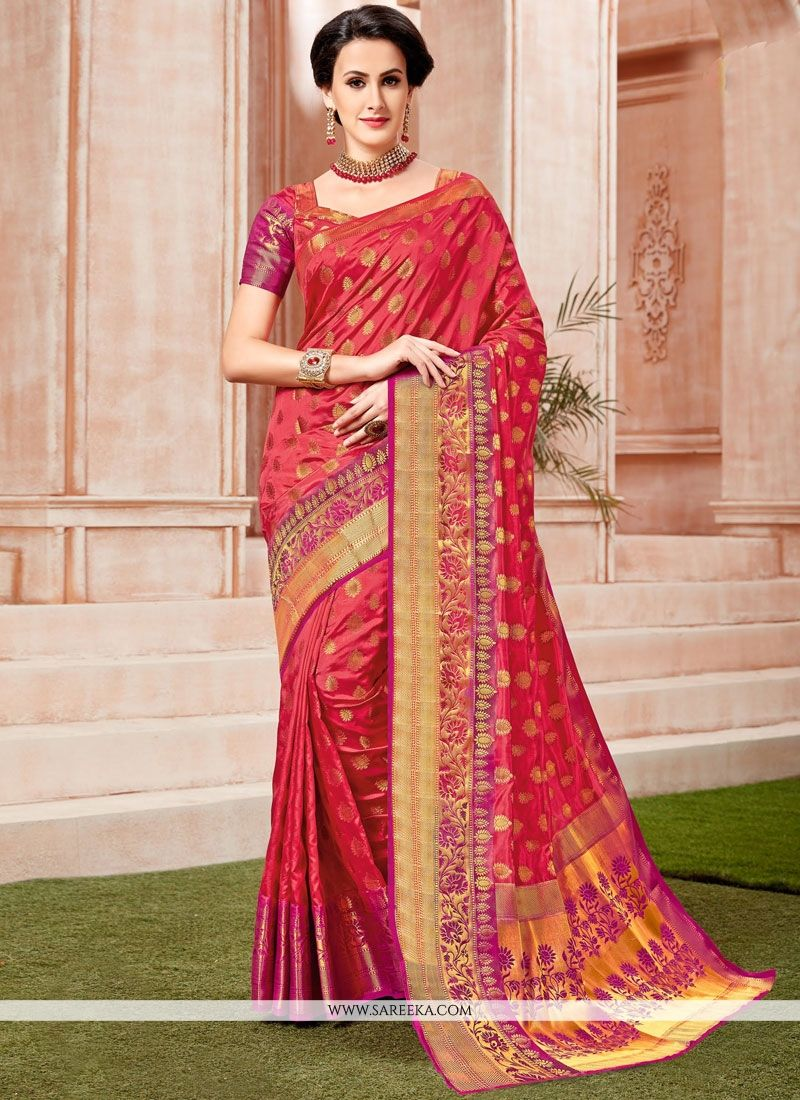 Red Weaving Work Designer Traditional Saree