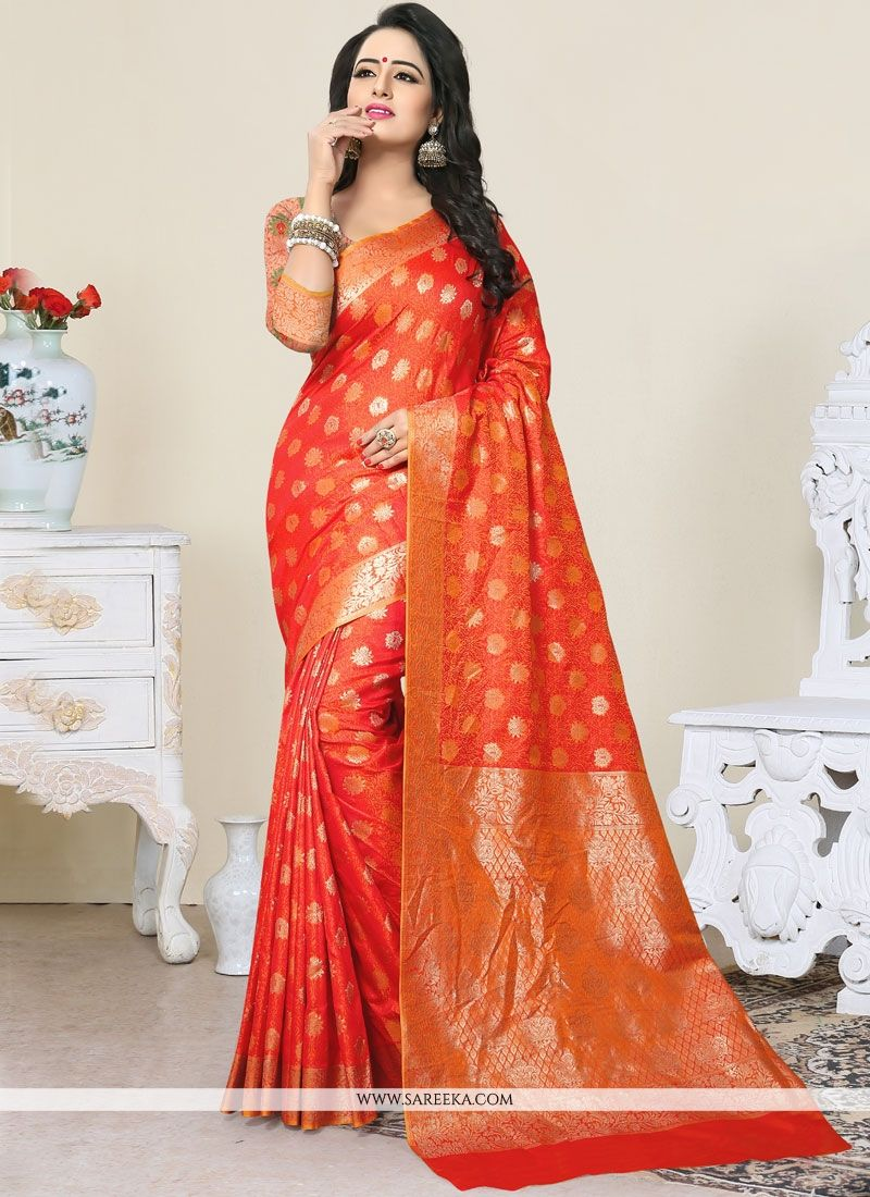 Red Weaving Work Traditional  Saree